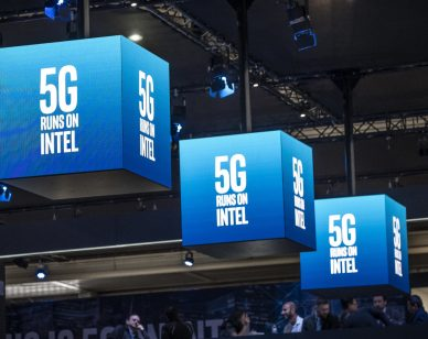 BARCELONA, CATALONIA, SPAIN - 2019/02/27: The 5G logo of Intel is seen during the MWC2019. The MWC2019 Mobile World Congress opens its doors to showcase the latest news of the manufacturers of smart phones. The presence of devices prepared to manage 5G communications has been the hallmark of this edition. The MWC2019 Mobile World Congress opens its doors to showcase the latest news of the manufacturers of smart phones. The presence of devices prepared to manage 5G communications has been the hallmark of this edition. (Photo by Paco Freire/SOPA Images/LightRocket via Getty Images)