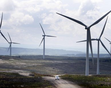 A general view of Europe's biggest onshore wind farm, Whitelee Windfarm on the outskirts of Glasgow, which was officially opened today.   (Photo by Danny Lawson - PA Images/PA Images via Getty Images)