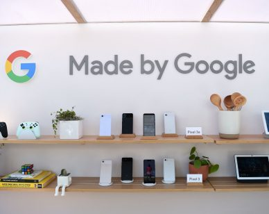 Google products, including the new Pixel 3A phone, are displayed during the Google I/O conference at Shoreline Amphitheatre in Mountain View, California on May 7, 2019. (Photo by Josh Edelson / AFP)        (Photo credit should read JOSH EDELSON/AFP/Getty Images)