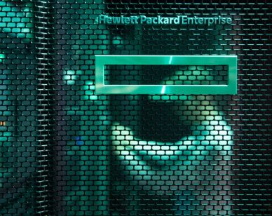 "22 November 2019, Baden-Wuerttemberg, Böblingen: The logo of the IT company Hewlett Packard Enterprise (HPE) can be seen in the company's technology center at the door of a server cabinet. HPE now offers its employees six months parental leave with full payment. (to dpa ""Parental leave with full salary - how companies recruit employees"") Photo: Marijan Murat/dpa (Photo by Marijan Murat/picture alliance via Getty Images)"